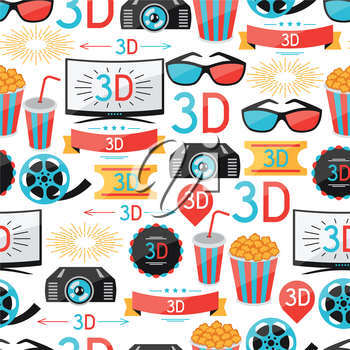 Seamless pattern of film and cinema icons.