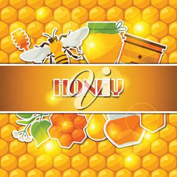 Background design with honey and bee stickers.