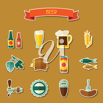 Beer sticker icon and objects set for design.