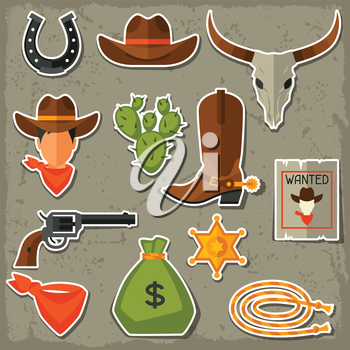 Wild west cowboy objects and stickers set.