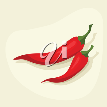 Stylized vector illustration of fresh ripe chili peppers.