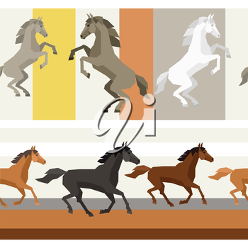 Seamless patterns with horse in flat style.