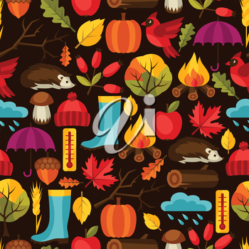 Seamless pattern with autumn icons and objects.