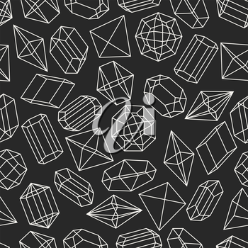 Seamless pattern with geometric crystals and minerals.