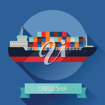 Cargo ship icon on background in flat design style.