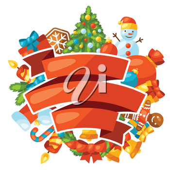 Merry Christmas holiday greeting card with celebration object.