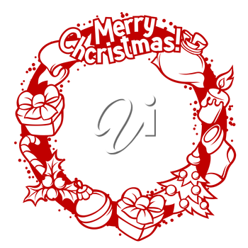 Merry Christmas invitation wreath with holiday symbols.