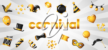 Carnival banner with gold icons and objects. Celebration party background.
