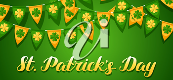 Saint Patricks Day seamless pattern. Garland flags with clover.