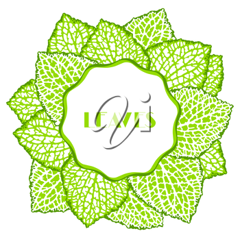 Background with decorative leaves. Natural detailed illustration.