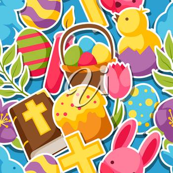 Happy Easter seamless pattern with decorative objects, eggs and bunnies stickers.