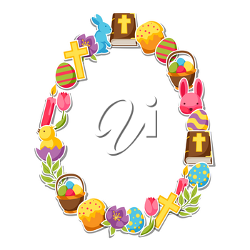 Happy Easter frame with decorative objects, eggs and bunnies stickers.
