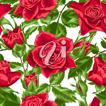 Seamless pattern with red roses. Beautiful realistic flowers, buds and leaves.