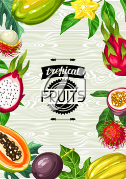 Background with exotic tropical fruits. Illustration of asian plants.