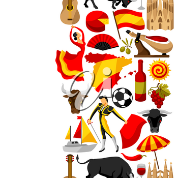 Spain seamless pattern. Spanish traditional symbols and objects.