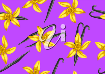 Seamless pattern with vanilla sticks and flower. Decorative ornament.