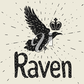 Background with black flying raven. Hand drawn inky bird and crown.