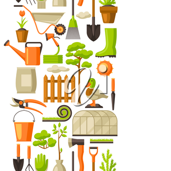 Seamless pattern with garden tools and items. Season gardening illustration.