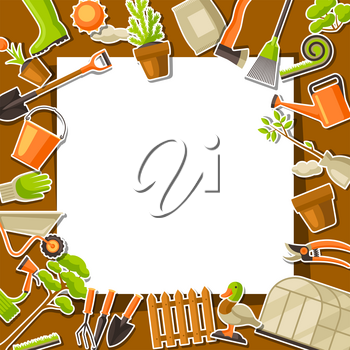 Background with garden tools and items. Season gardening illustration.