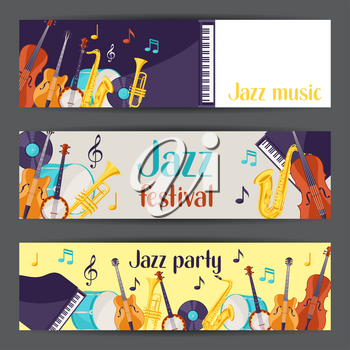 Jazz music party festival banners with musical instruments.