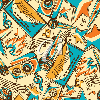 Karaoke party seamless pattern. Music event background. Illustration in retro style.