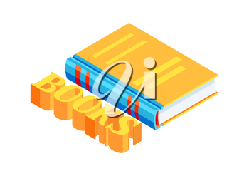 Isometric book icon. Education or bookstore illustration in flat design style.