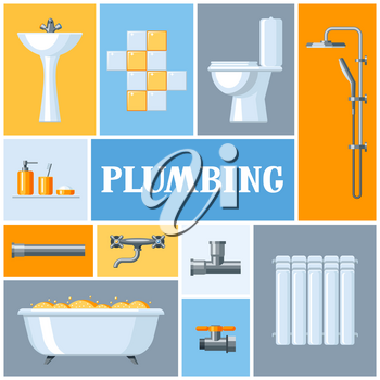 Bathroom interior. Plumbing background. Illustration for sanitary engineering shop. Sale, service and installation.