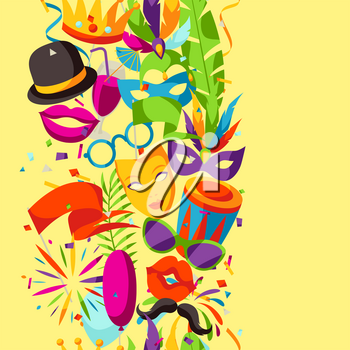 Carnival party seamless pattern with celebration icons, objects and decor.