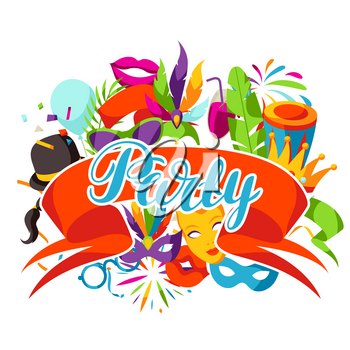 Carnival party background with celebration icons, objects and decor.