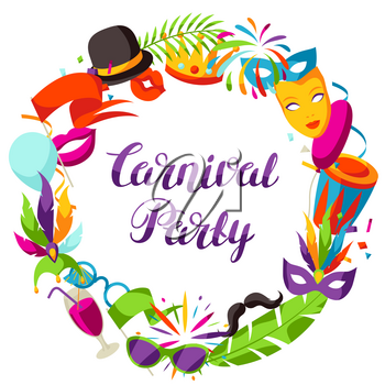 Carnival party frame with celebration icons, objects and decor.
