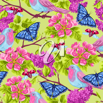 Spring garden seamless pattern. Natural illustration with blossom flower, robin birdie and butterfly.