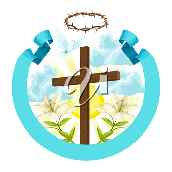 Wooden cross with thorns, lily and dove. Happy Easter concept illustration or greeting card. Religious symbols of faith.