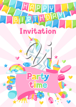 Happy birthday party invitation with unicorn and fantasy items.