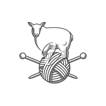 Wool emblem with sheep, tangle of yarn and knitting needles. Label for hand made, knitting or tailor shop.
