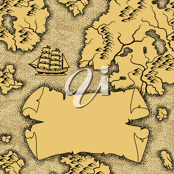 Background with old nautical map. Islands, ships and vintage retro scroll.