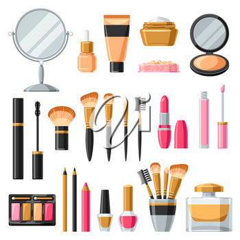 Cosmetics for skincare and makeup. Product set for catalog or advertising.