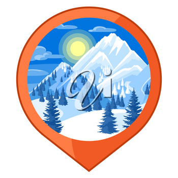 Location mark. Winter landscape with snowy mountains and fir forest.