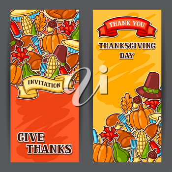 Happy Thanksgiving Day banners with holiday objects.