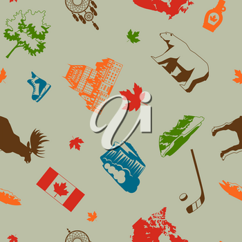 Canada seamless pattern. Canadian traditional symbols and attractions.
