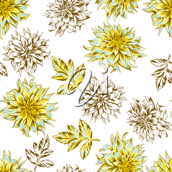 Seamless pattern with fluffy yellow dahlias. Beautiful decorative flowers, leaves and buds.