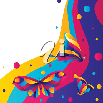 Background design with butterflies. Colorful bright abstract insects.