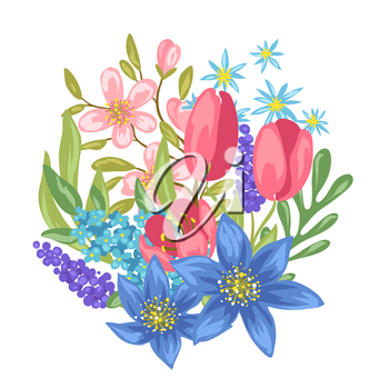 Vouquet with spring flowers. Beautiful decorative natural plants, buds and leaves.