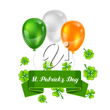 Saint Patricks Day greeting card. Holiday illustration with Irish festive national items.