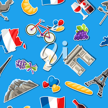 France seamless pattern. French traditional sticker symbols and objects.