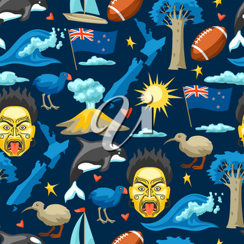 New Zealand seamless pattern. Oceanian traditional symbols and attractions.
