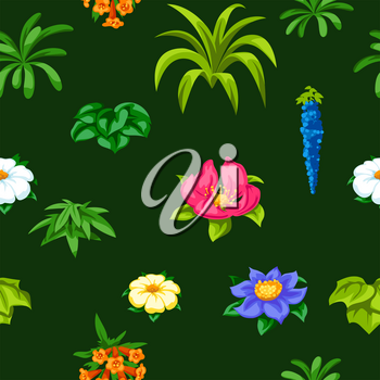 Seamless pattern with tropical flowers. Exotic tropical plants. Illustration of jungle nature.