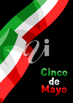 Illustration of waving mexican flag. Traditional simbol.