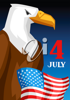 Fourth of July Independence Day greeting card. American patriotic illustration.