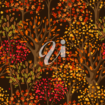 Autumn seamless pattern with stylized trees. Natural illustration.