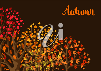 Autumn background with stylized trees. Natural illustration.